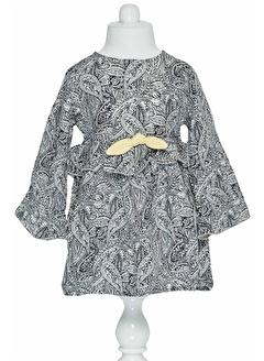 çikoby Çikoby Kız Bebek Fiyonklu Dokuma Elbise 6-36 Ay C19W-CK3551